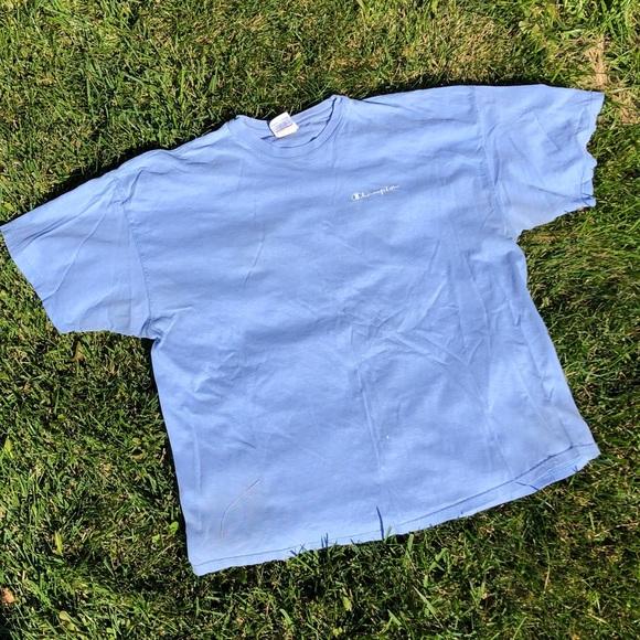 3effbb8e6e1b Champion Shirts | Baby Blue Spellout Shirt | Poshmark